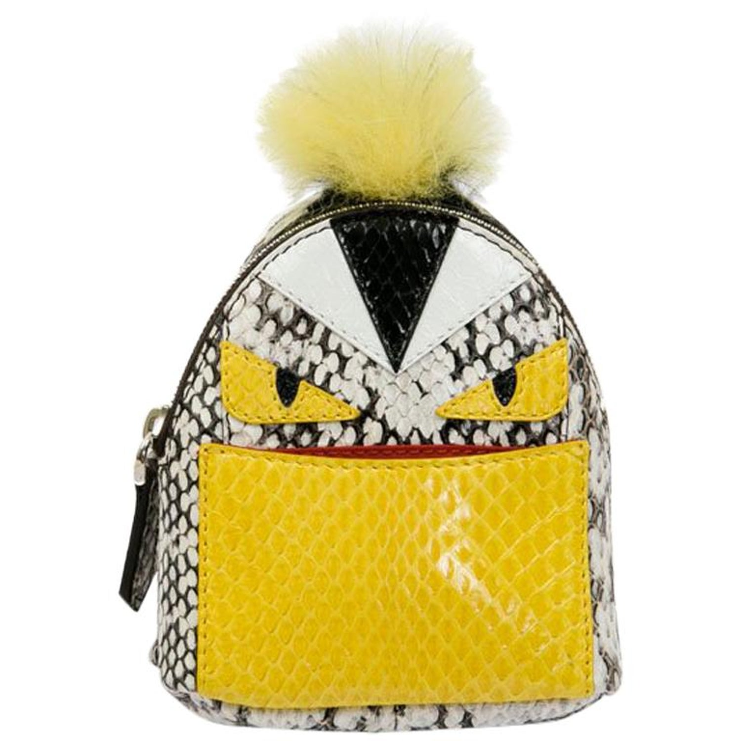 bc99e2bedc65 FENDI Monster Bag Mini Backpack Charm in Multicolored Python and Fur For  Sale at 1stdibs