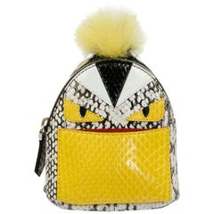 FENDI Monster Bag Mini Backpack Charm in Multicolored Python and Fur