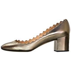 Chloe Bronze Leather Scalloped Lauren Pumps Sz 39