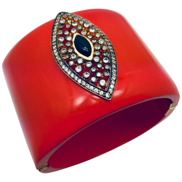 Evil Eye Statement Resin Cuff  For Sale