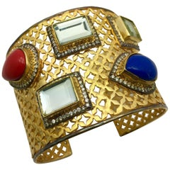 Meghna Jewels Handcrafted Lattice resin and polki cuff