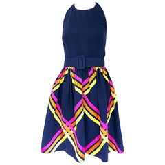 Bill Blass 1990s New w/ Tags Size 4 Navy Blue Ribbon Belted 90s Halter Dress