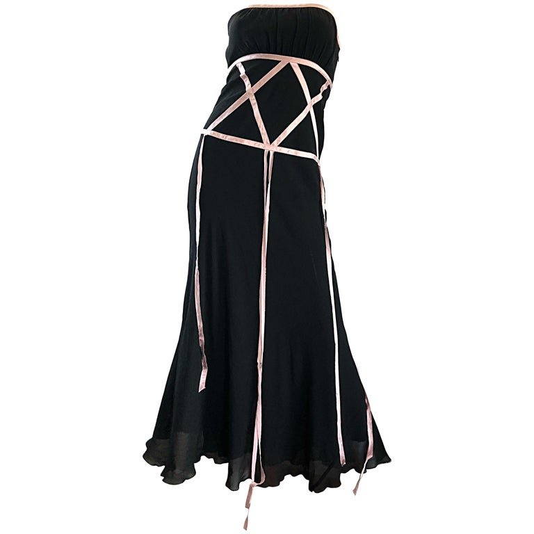 1990s Nicole Miller Collection Size 0 / 2 Black + Pink Silk Chiffon Gown Dress