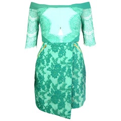 Three Floor Green Lace Dress Sz 6 NWT