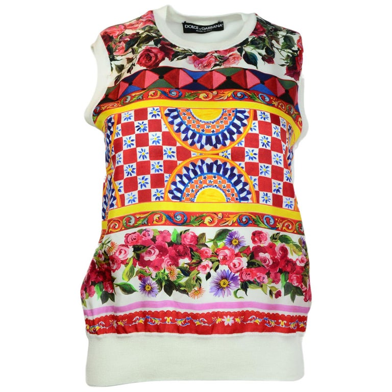 Dolce & Gabbana Silk Sleeveless Top Sz IT40