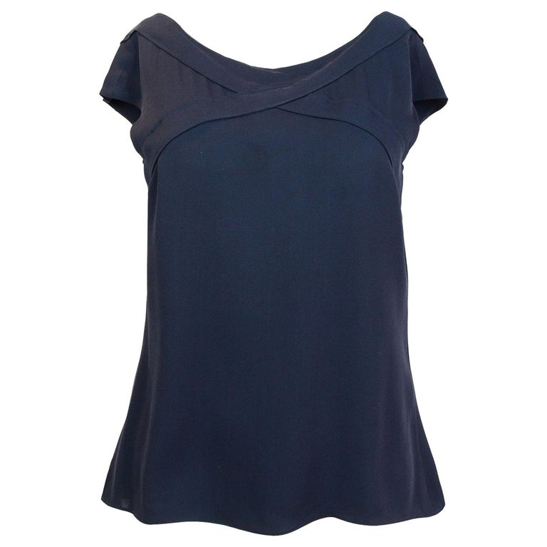Chanel Navy Silk Top Sz FR38