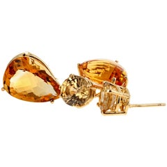 Citrines and Zircon Dangle Gold Stud Earrings
