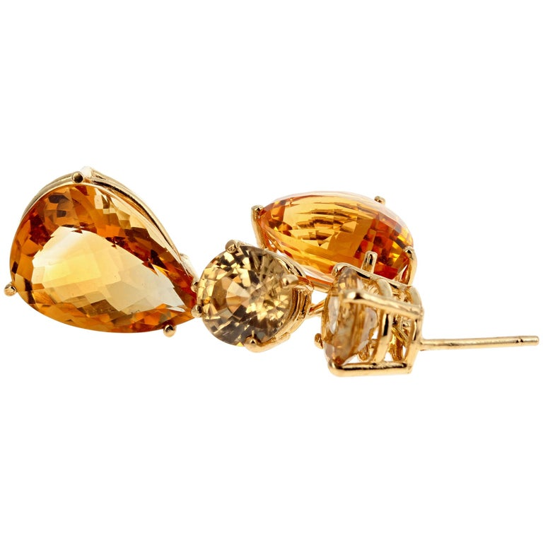Citrines and Zircon Dangle Gold Stud Earrings For Sale