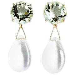 Praziolites and Quartz Sterling Silver Stud Earrings