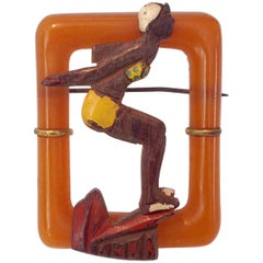 "1930'S Art Deco Bakelite & Wood Figural ""Diver Girl"" Brooch Pin"