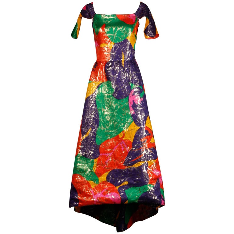 Arnold Scaasi Vintage Colorful Metallic Lamé Silk Evening Gown Dress, 1970s  For Sale
