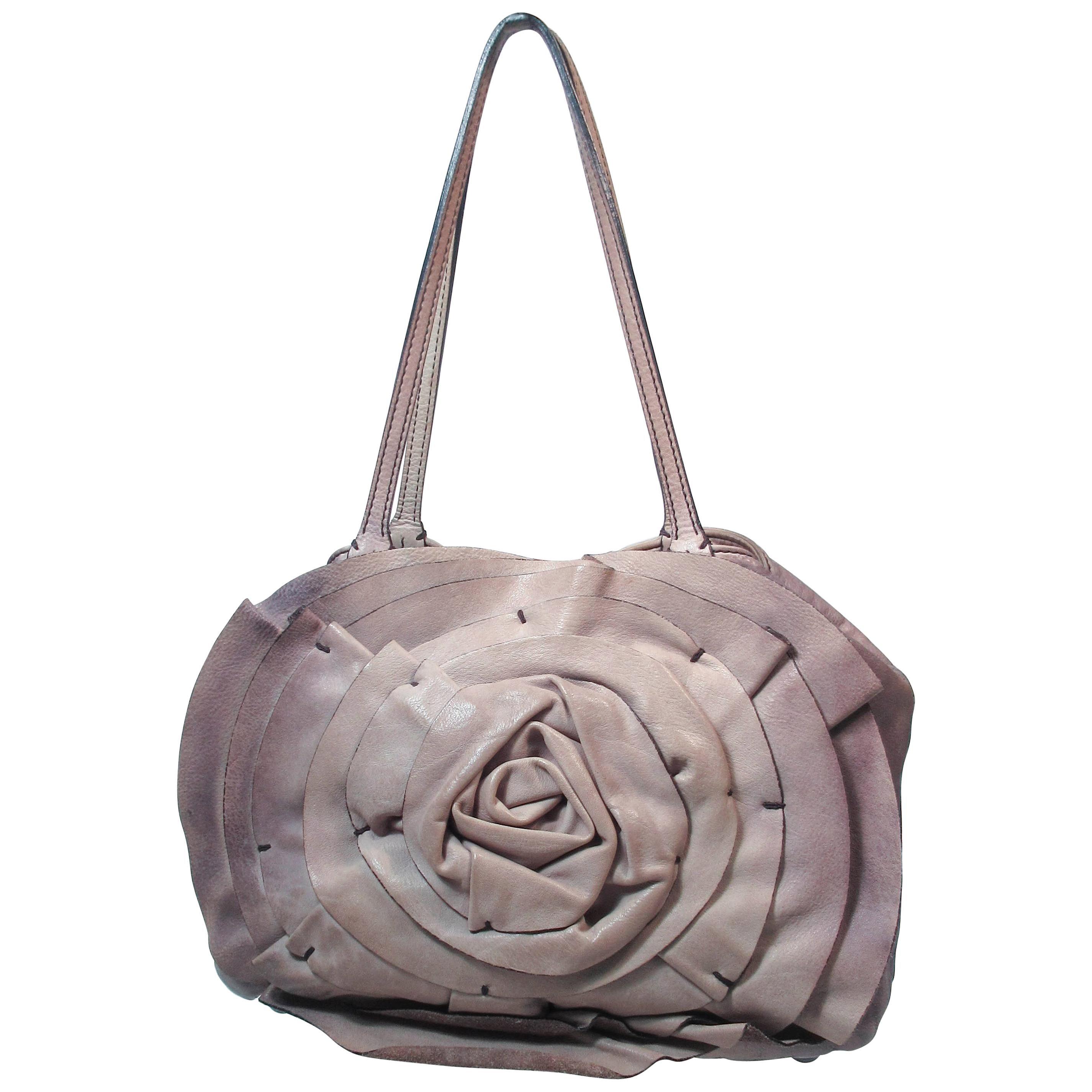 VALENTINO Distressed Rosebud Grey Leather Shopper Handbag