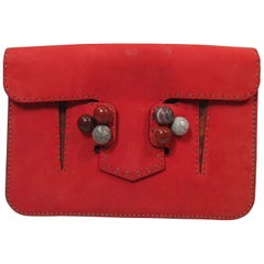 FENDI Red Suede Clutch with Stone Applique