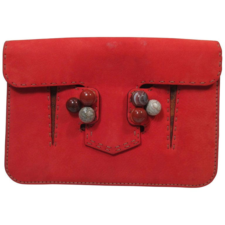 d06f0accd0 FENDI Red Suede Clutch with Stone Applique For Sale at 1stdibs