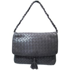 BOTTEGA VENETA Grey Woven Leather Handbag with Tassel