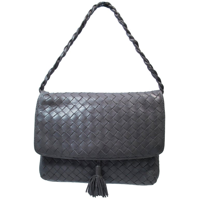BOTTEGA VENETA Grey Woven Leather Handbag with Tassel