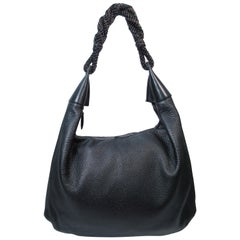 OSCAR DE LA RENTA Large Black Leather Hobo with Beaded Strap