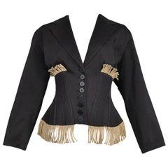 Vintage Azzedine Alaia 1988 Twine Fringe & Black Cotton Corset Jacket