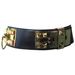 HERMES Collier De Chien Vintage Brown Leather Belt with Gold Hardware Size Large