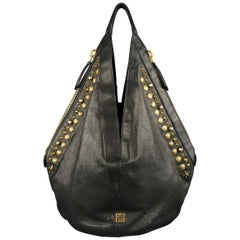 GIVENCHY Black Leather Gold Studded TINHAN Large Hobo Bag