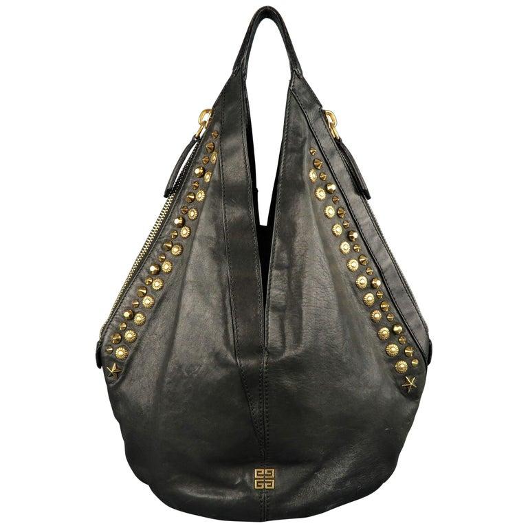 b4d6aaff55 GIVENCHY Black Leather Gold Studded TINHAN Large Hobo Bag at 1stdibs