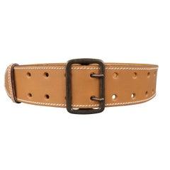 ALAIA Tan S Leather Contrast Stitch Waist Belt