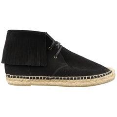 SAINT LAURENT Size 7.5 Black Suede Fringe Espadrille Boots
