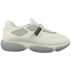 PRADA Size 10 White & Gray Velcro Strap CLOUDBURST Sneakers