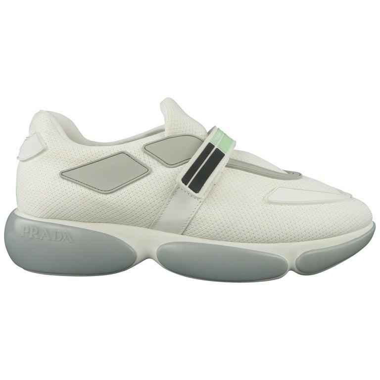 PRADA Size 10 White and Gray Velcro Strap CLOUDBURST Sneakers at 1stdibs a4b9eb3df60a