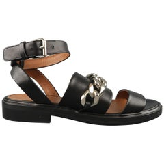 GIVENCHY Size 8 Black Leather Ankle Curb Chain Strap Sandals