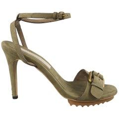 STELLA McCARTNEY Size 6 Green Vegan Suede Buckle Sandals