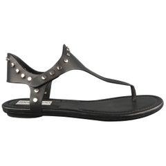 JIMMY CHOO Size 7.5 Black Studded Leather DARA Sandals