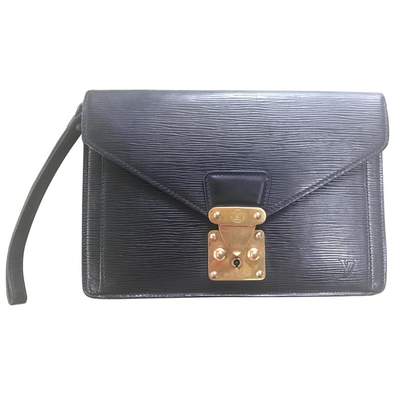 Vintage Louis Vuitton black epi leather wristlet clutch bag, purse with strap.