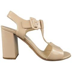 PRADA Size 7.5 Beige T Strap Chunky Heeled Sandals
