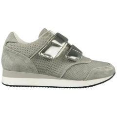 MAX MARA Size 9 Grey Perforated Suede Metallic Sneakers