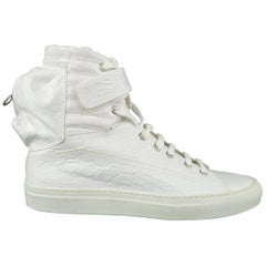 Raf Simons White Crocodile Embossed Leather Astronaut Boot Sneakers