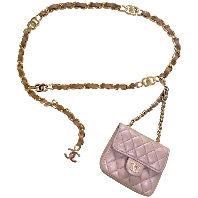 Chanel Vintage brown lambskin mini 2.55 bag charm and golden chain belt with CC