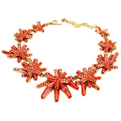 Oscar de la renta Sculptural coral necklace New condition