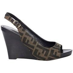 Brown Fendi Slingback Wedge Sandals
