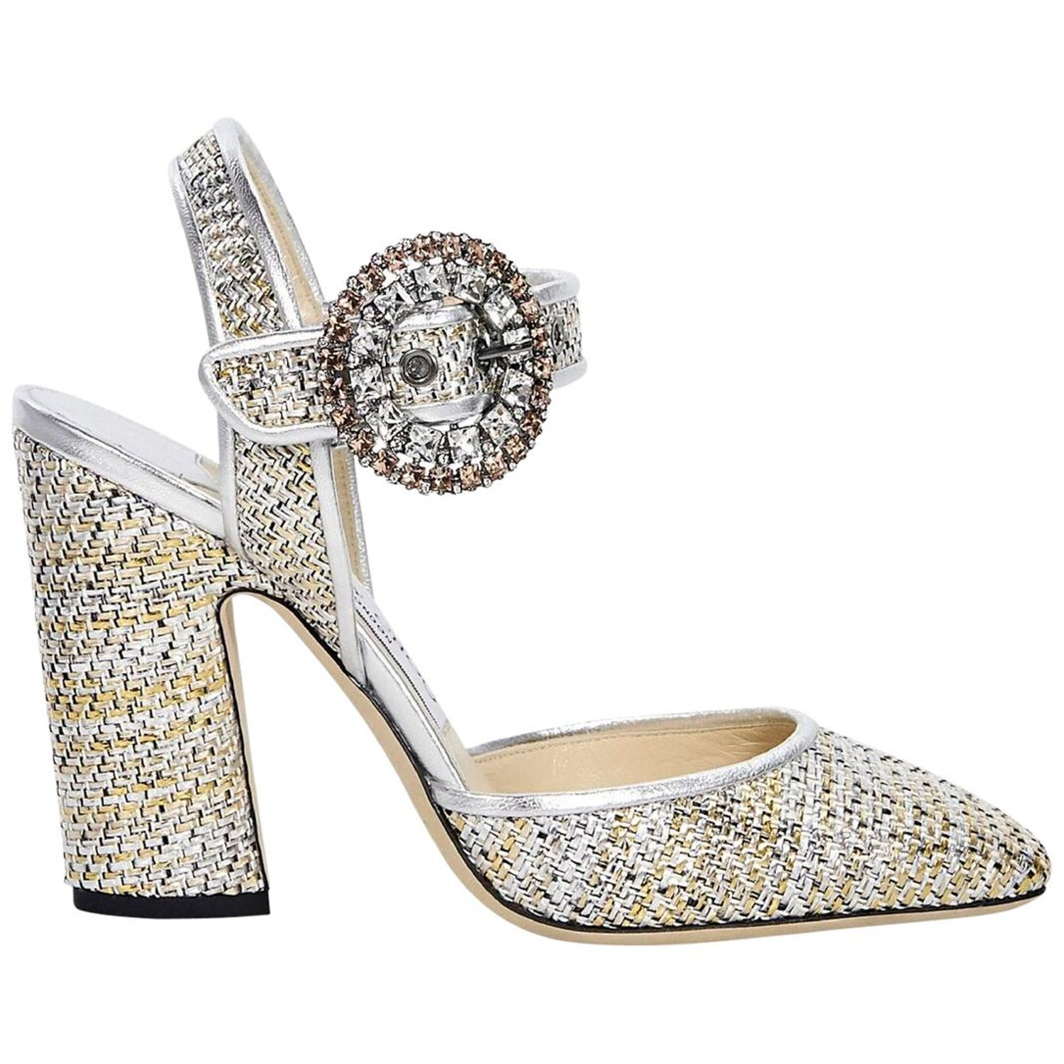 8be9bc28aa91 Metallic Silver and Gold Jimmy Choo Woven Pumps For Sale at 1stdibs