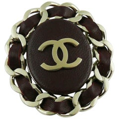 Chanel Oval Chain and Leather CC Brooch