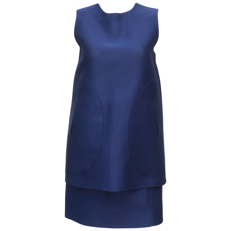 Shire Blue Marni Two Piece Cotton Silk Blend Tunic Dress For