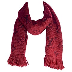 Red Louis Vuitton Logomania Wool Scarf