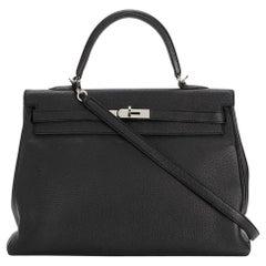 Hermes Black Togo Leather Kelly Bag