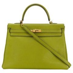 Hermes Vert Anis Togo Leather Kelly Bag