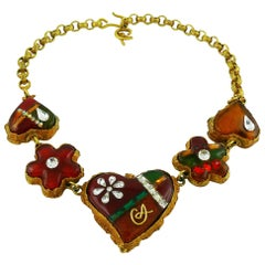 Christian Lacroix Vintage Multicolored Heart Necklace