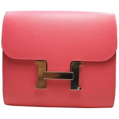 Hermes Rose Lipstick Constance Compact Wallet H Palladium / Never worn