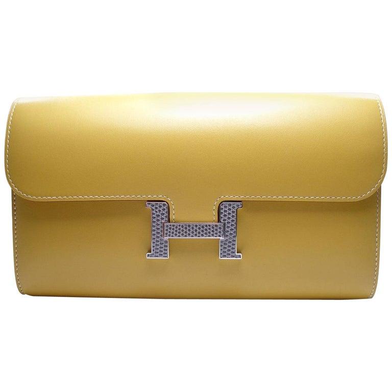 Hermès Long Constance Veau Tadelakt Paille and H Lezard Gris Agate Wallet