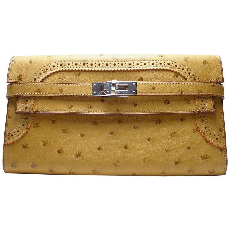 Hermès Long Classique Autruche Tabac Palladium HDW Kelly Gillies Wallet Clutch