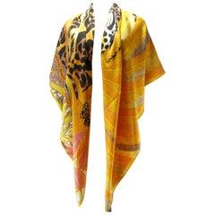 "Hermès 140cm 55 ""GM Shawl Jaguar Quetzal Cashmere by Alice Shirley / Brand New"